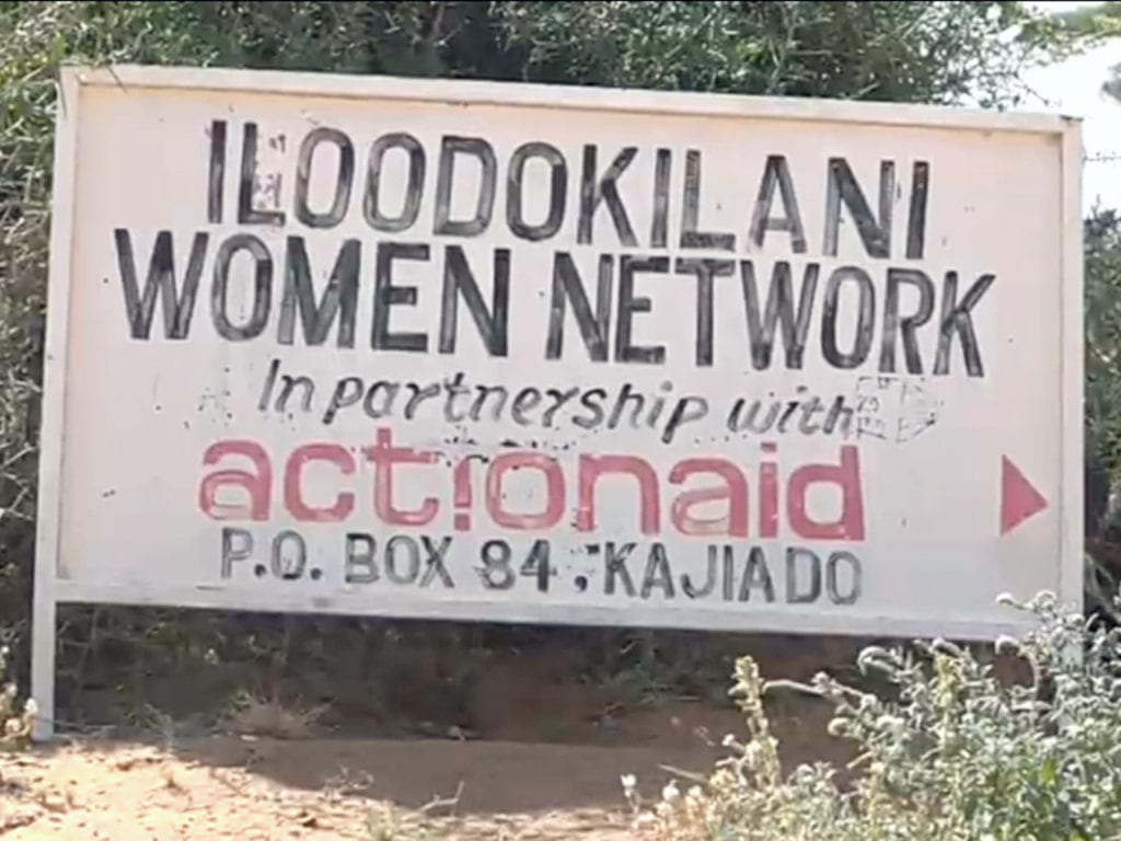 A sign at the Iloodokilani Women Network facility in Kenya.