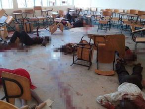 Image depicts the horrible scene in one of the classes during the attack in Garissa Moi University. | Grandmother Africa