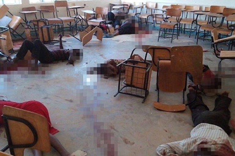 Image depicts the horrible scene in one of the classes during the attack in Garissa Moi University.   Grandmother Africa
