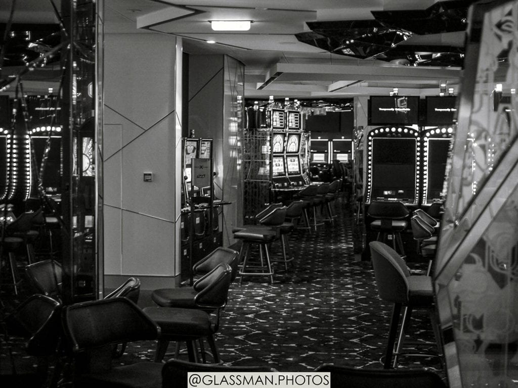 A casino sits empty on the ship.