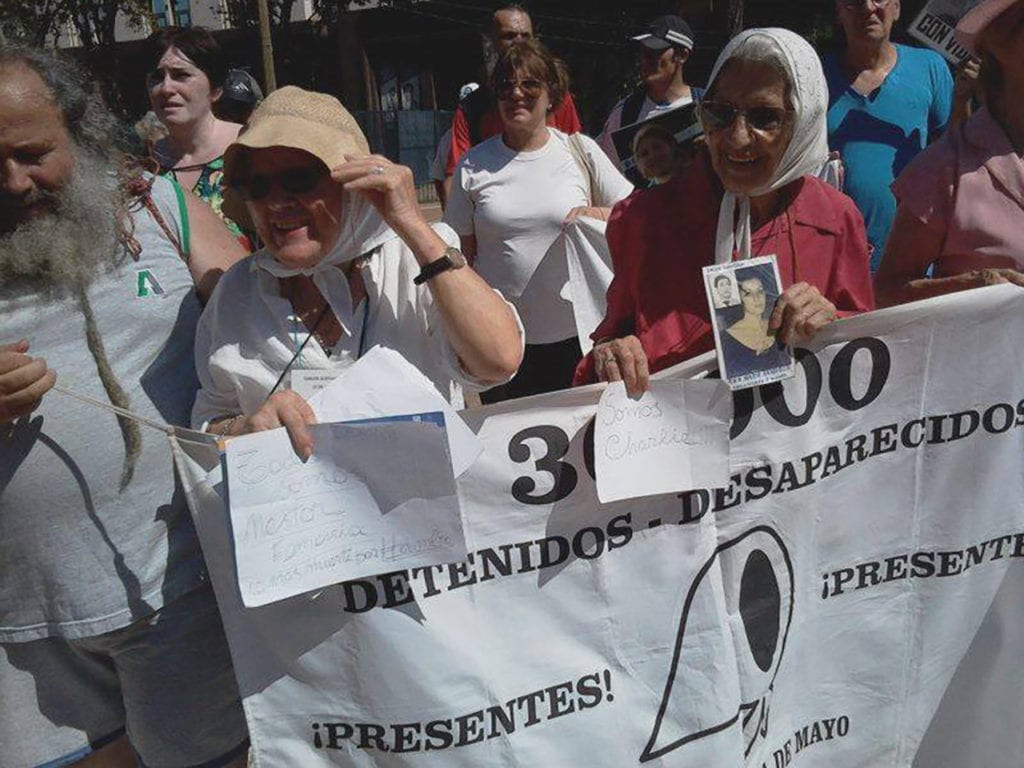 Abeulas de Plaza de Mayo has been nominated for the Nobel Peace Prize five times. She is seen here speaking at a protest.