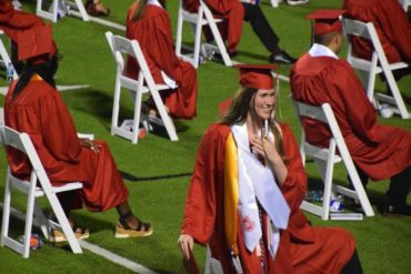 Paxton Smith pictured at her graduation ceremony at Lake Highlands High School in Dallas, Texas.