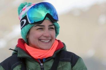 Iranian women's alpine ski coach Samira Zaghari poses on the slopes