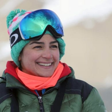 Iranian women's alpine ski coach Samira Zaghari poses on the slopes