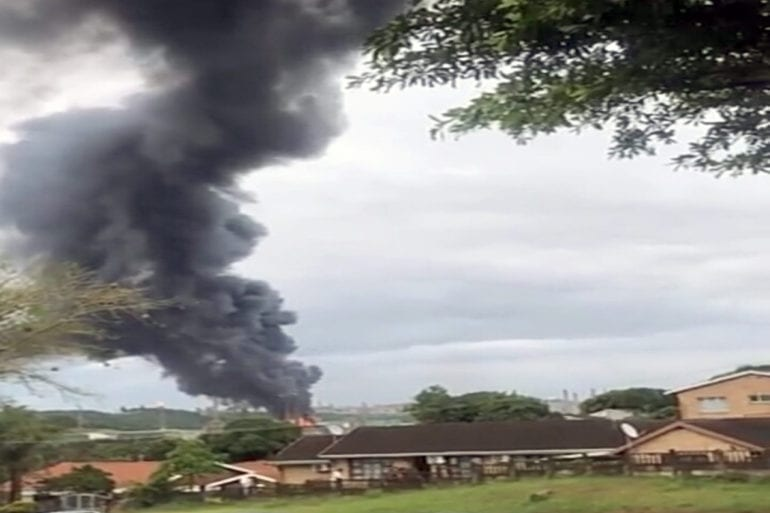 A screen grab from a video showing an explosion at Engen Oil Refinery left the facility engulfed in flames and black smoke.