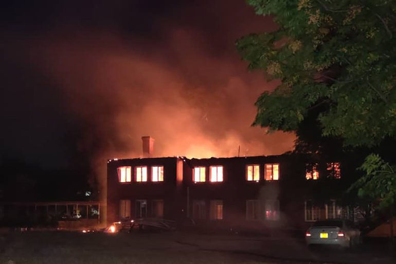 Mpilo Hospital in Zimbabwe burns from an electrical fire on May 26, 2021