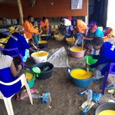 Refugees and locals work together to make soap for the Kakuma refugee camp in Kenya.